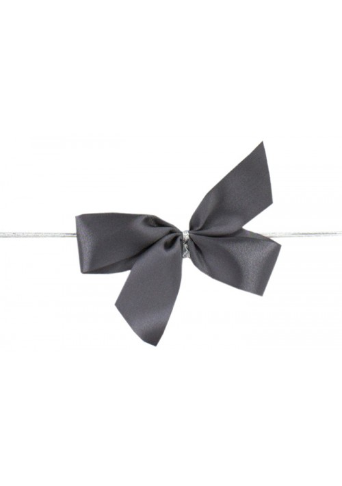 Gray  Bow w/Stretch Tie (2 Loop: 3-1/2 Bow) - 100 per Case
