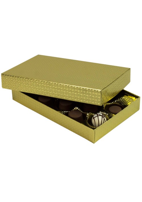 815-2007 - 1/2 lb. Solid Lid Candy Box - Gold Diamond