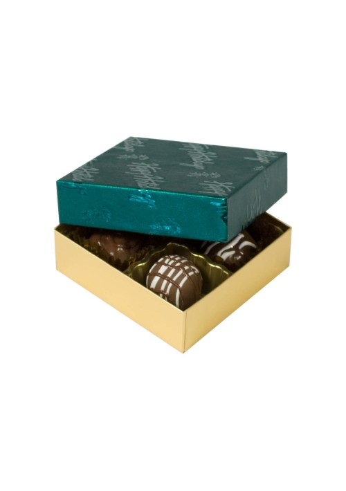 804-602/2358 - 1/8 lb. Solid Lid Candy Box - Gold / Green Happy Holiday Pattern - 100 per case