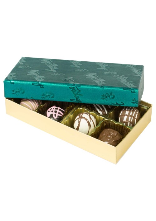 808-602/2358  - 1/4 lb. Solid Lid Candy Box - Gold / Green Happy Holidays Pattern - 100 per case