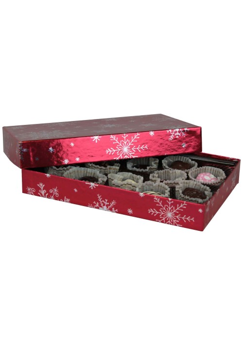 815-2310 - 1/2 lb. Solid Lid Candy Box - Red Snowflake Pattern - 50 per case