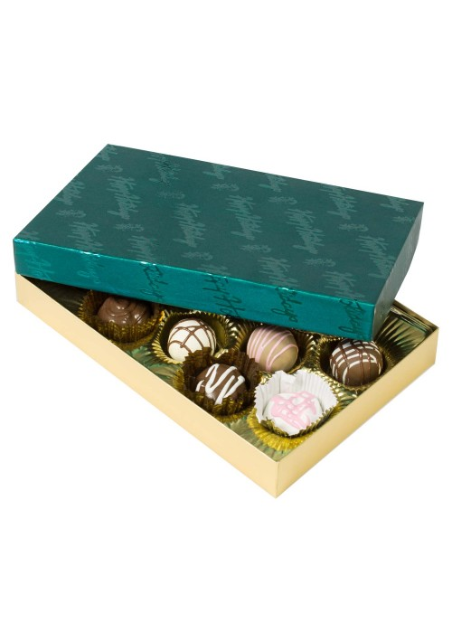 815-602/2358 - 1/2 lb. Solid Lid Candy Box - Gold / Green Happy Holidays Pattern - 50 per case