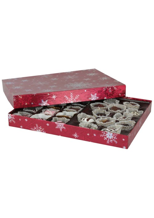 830-2310 - 1 lb. Solid Lid Candy Box - Red Snowflake Pattern - 50 per case