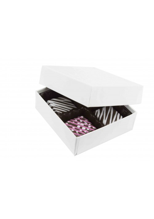 804-005 - 1/8 lb. Solid Lid Candy Box -  White Krome