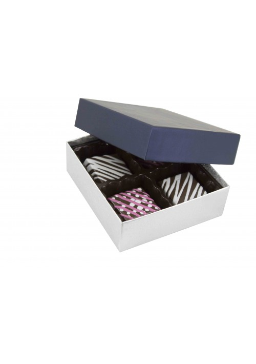 804-2090/2392 - 1/8 lb. Solid Lid Candy Box - Sapphire / Silver Silk