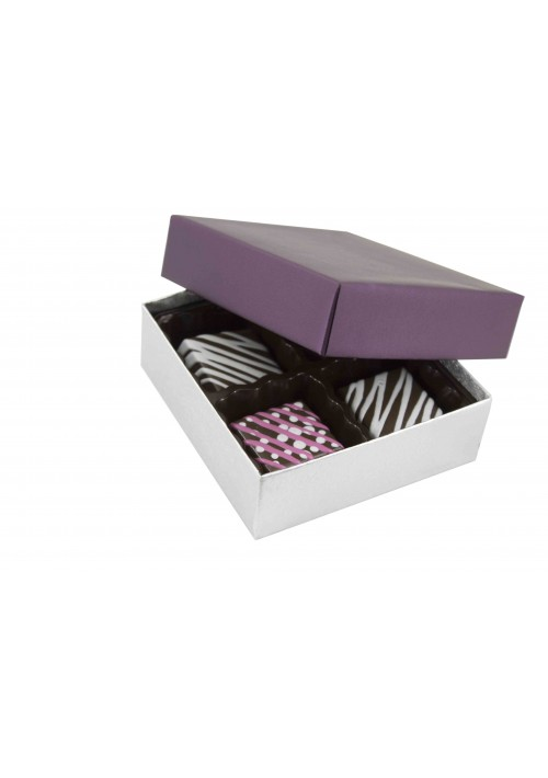 804-2090/2393 - 1/8 lb. Solid Lid Candy Box - Plum / Silver Silk
