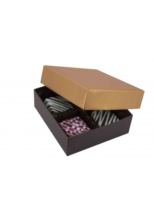 804-2251/2296 - 1/8 lb. Solid Lid Candy Box -  Dark Chocolate / Caramel