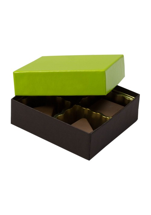 804-2251/2355 - 1/8 lb. Solid Lid Candy Box -  Dark Chocolate / Lime