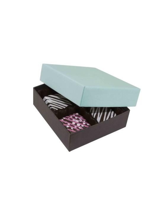804-2251/2357 - 1/8 lb. Solid Lid Candy Box -  Dark Chocolate / Mint