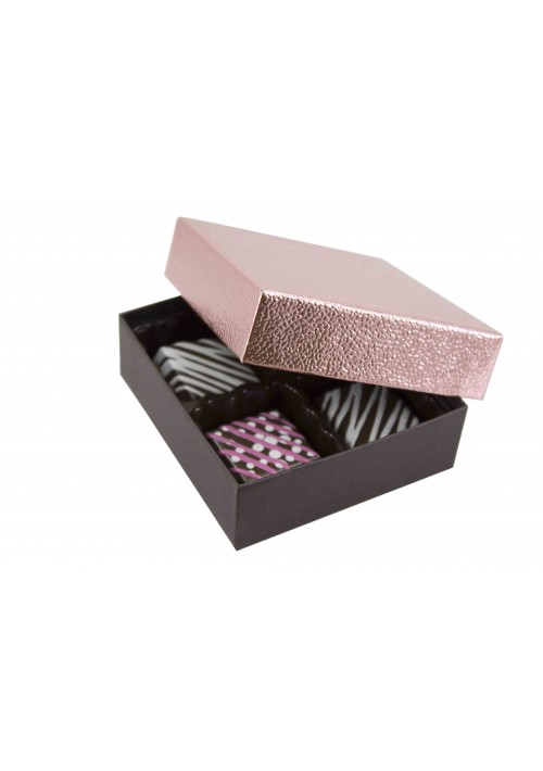 804-2251/2390 - 1/8 lb. Solid Lid Candy Box - Metallic Rose Pebble /  Dark Chocolate