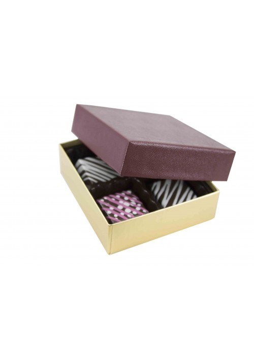 804-602/2248 - 1/8 lb. Solid Lid Candy Box - Burgundy / Gold