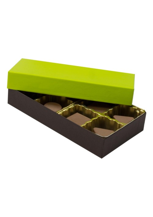 808S-2251/2355 - 1/4 lb. Solid Lid Candy Box - Dark Chocolate /Lime