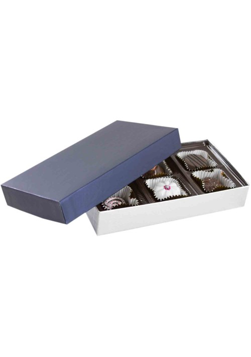 808S-2090/2392 - 1/4 lb. Solid Lid Candy Box - Sapphire / Silver Silk