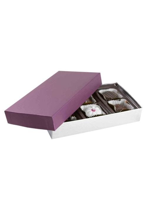 808S-2090/2393 - 1/4 lb. Solid Lid Candy Box - Plum / Silver Silk