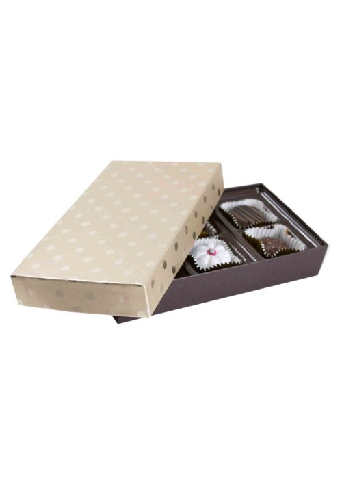 808S-2251/2389 - 1/4 lb. Solid Lid Candy Box - Champagne Dots / Dark Chocolate