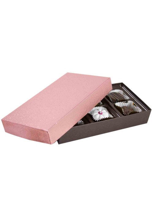 808S-2251/2390 - 1/4 lb. Solid Lid Candy Box - Metallic Rose Pebble / Dark Chocolate