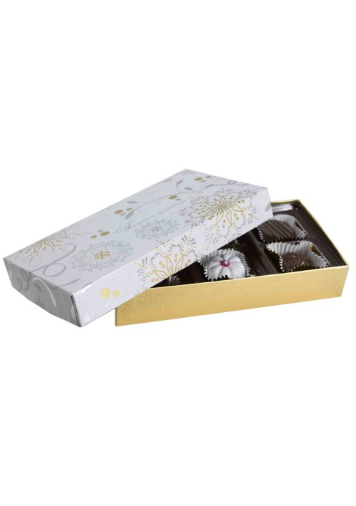 808S-2366/2391  - 1/4 lb. Solid Lid Candy Box - Season's Greetings / Gold Silk - 100 per case