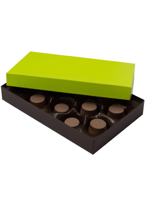 815-2251/2355 - 1/2 lb.296 - 1/2 lb. Solid Lid Candy Box - Dark Chocolate / Lime