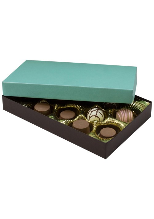 815S-2251/2357 - 1/2 lb.296 - 1/2 lb. Solid Lid Candy Box - Dark Chocolate / Mint