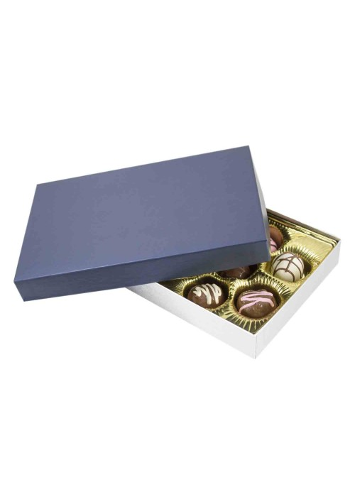 815S-2090/2392 - 1/2 lb. Solid Lid Candy Box - Sapphire / Silver Silk