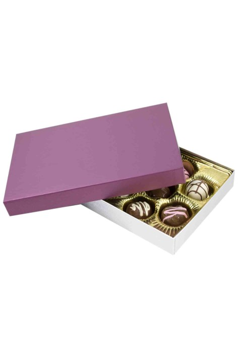 815S-2090/2393 - 1/2 lb. Solid Lid Candy Box - Plum / Silver Silk