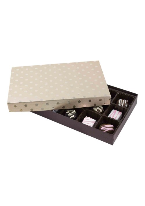 815S-2251/2389 - 1/2 lb. Solid Lid Candy Box - Champagne Dots / Dark Chocolate