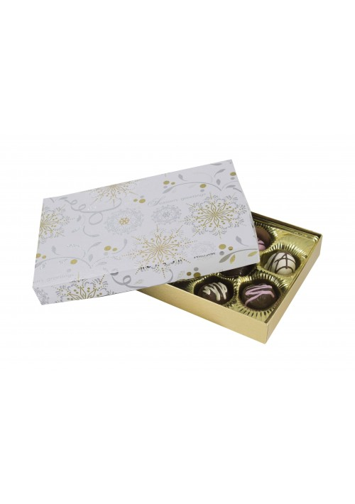 815S-2366/2391 - 1/2 lb. Solid Lid Candy Box - Season's Greetings / Gold Silk - 50 per case