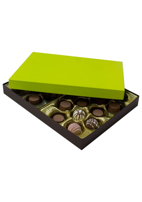 830S-2251/2355 - 1 lb. Solid Lid Candy Box - Dark Chocolate/Lime Setup