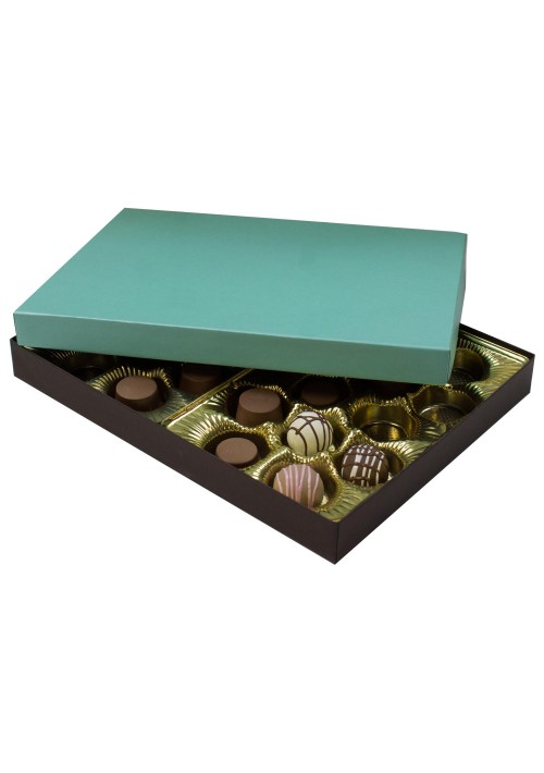 830-2251/2357 - 1 lb. Solid Lid Candy Box - Dark Chocolate/Mint Setup