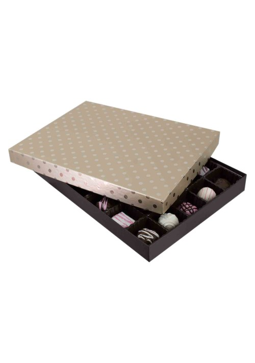 830S-2251/2389 - 1 lb. Solid Lid Candy Box - Champagne Dots / Dark Chocolate