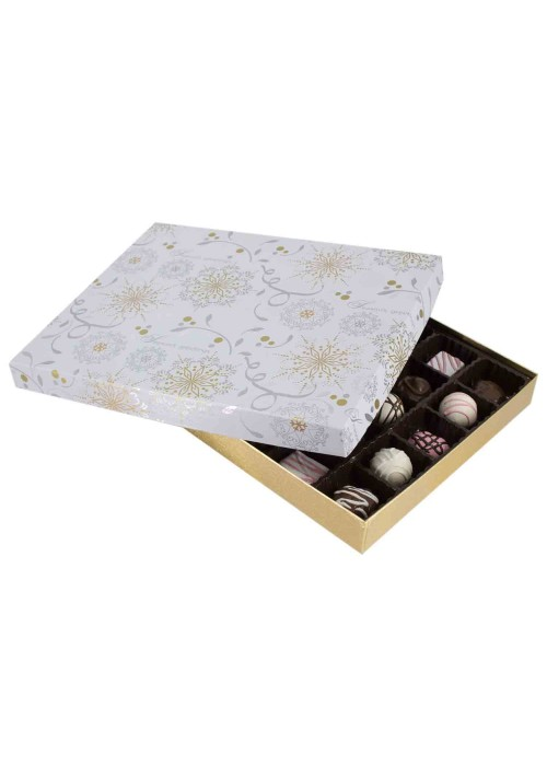 830S-2366/2391 - 1 lb. Solid Lid Candy Box - Season's Greetings / Gold Silk - 50 per case