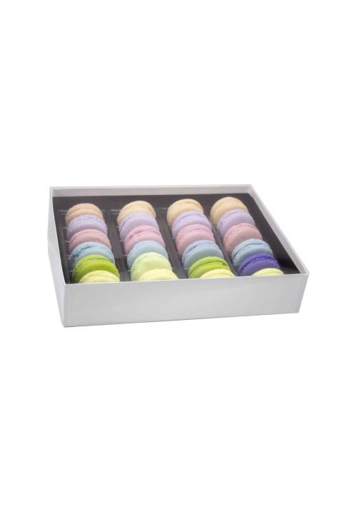24 pc. Macaron Box w/ Clear Vinyl Lid - White Krome