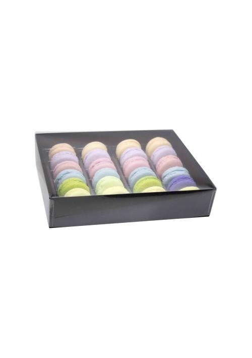 24 pc. Macaron Box w/ Clear Vinyl Lid - Black Onyx