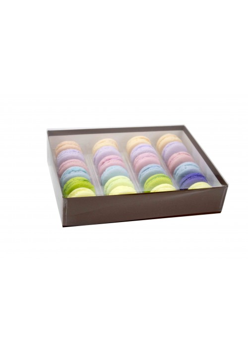 V2224 Series -  24 pc. Macaron Box w/ Clear Vinyl Lid - Assorted Colors - 20 per Case