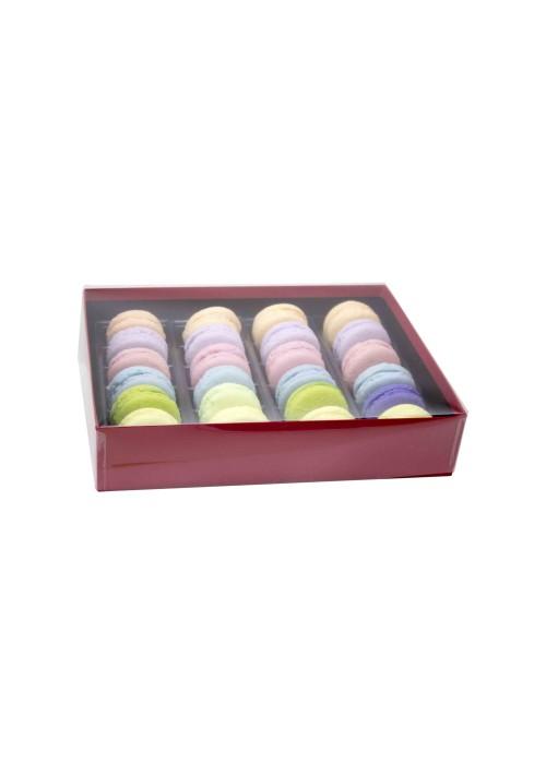 24 pc. Macaron Box w/ Clear Vinyl Lid - Red