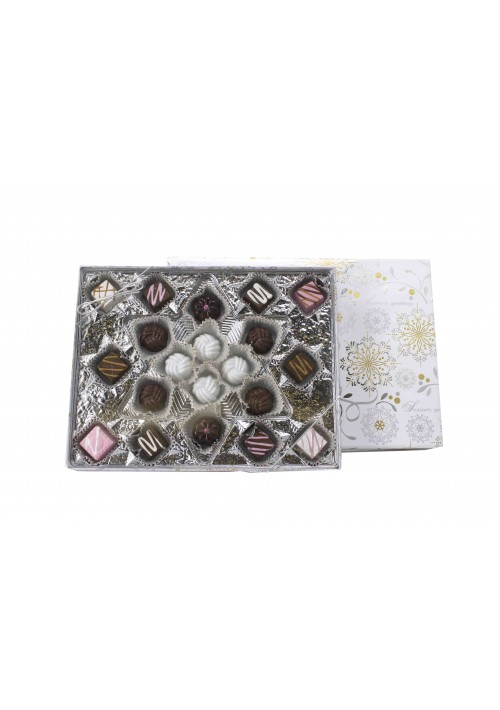 Snowflake Candy Box Kit - Vinyl Lid - Season's Greetings Silver and Gold Snowflake -Snowflake Tray -50 per Case