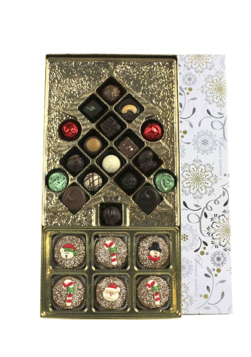 Christmas Candy Box Kit - Vinyl Lid - Season's Greetings Silver and Gold Snowflake - Six Cavity Tray - 20 per Case