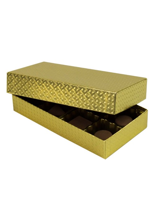 808-2007 - 1/4 lb. Solid Lid Candy Box - Gold Diamond