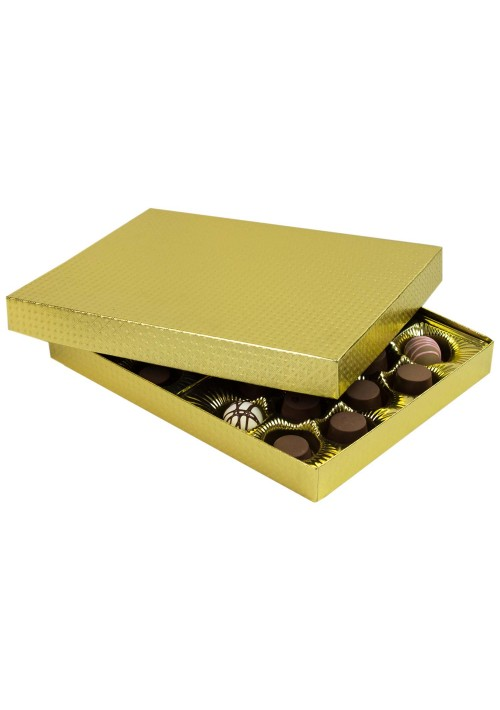 830-2007 - 1 lb. Solid Lid Candy Box - Gold Diamond