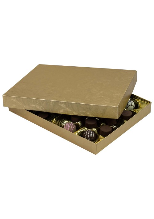830S-2044 - 1 lb. Solid Lid Candy Box - Elegant Gold