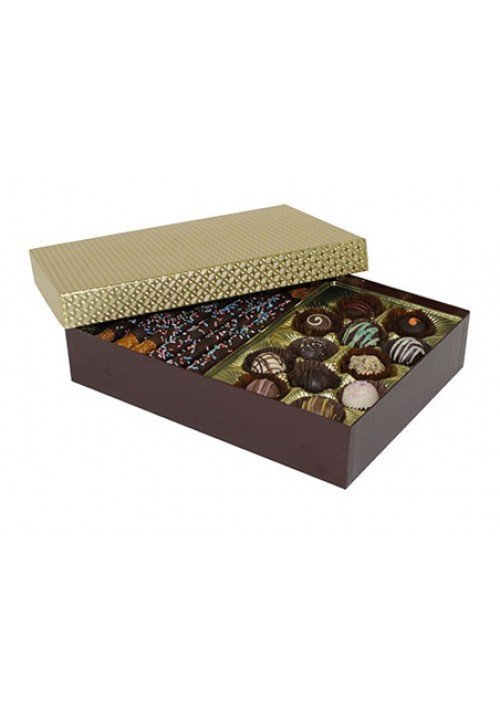 8302-2002/2007 - 2 lb. Double Layer Solid Lid Candy Box - Chocolate / Gold Diamond