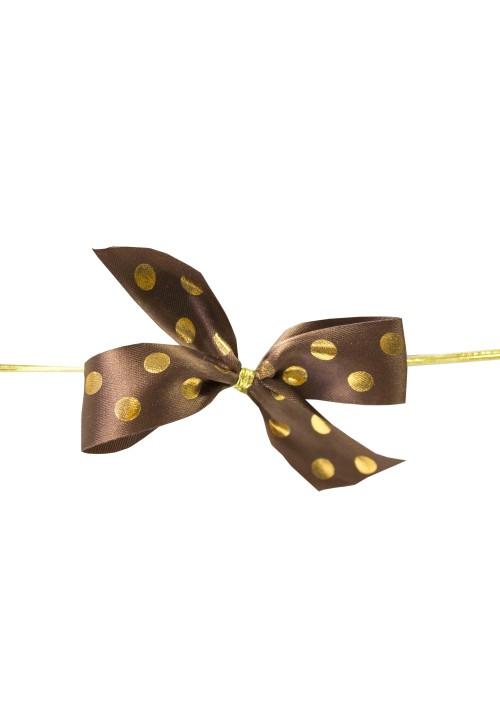 Brown/Copper Polka Dot Bow w/Stretch Tie (2 Loop: 3-1/2 Bow) - 100 per Case