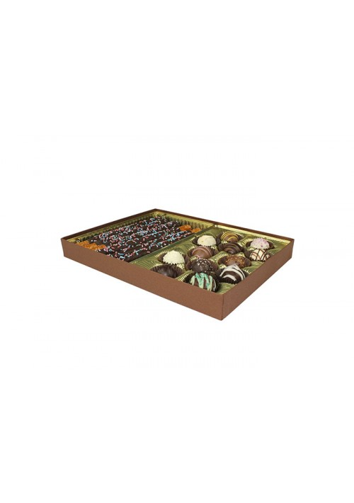 830S-2290/2057 - 1 lb. Solid Lid Candy Box - Cocoa