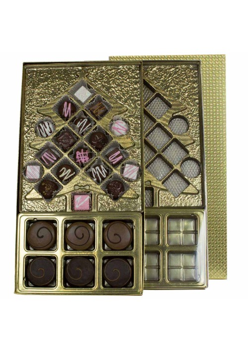 Christmas Candy Box Kit - Vinyl Lid - Gold Diamond - Six Cavity Tray - 20 per Case