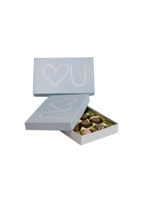 815-HEARTU - 1/2 lb. Conversation Solid Lid Candy Box - Heart U Blue