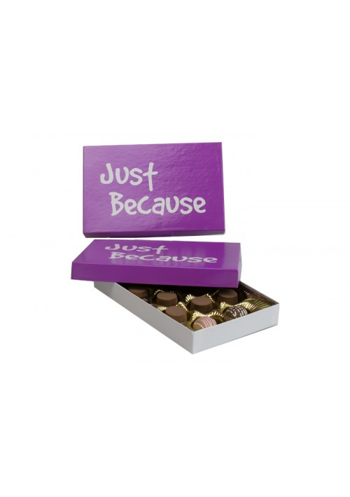 815-JUST - 1/2 lb. Conversation Solid Lid Candy Box - Just Because Purple