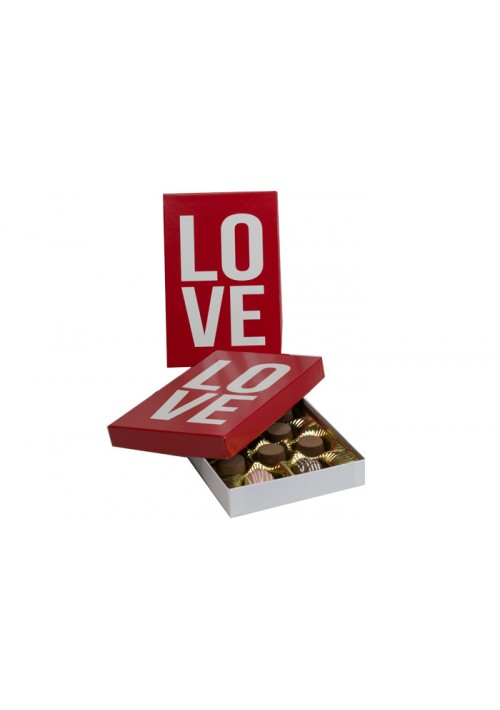 815-LOVE - 1/2 lb. Conversation Solid Lid Candy Box -  Love Red