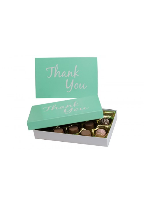815-THANK - 1/2 lb. Conversation Solid Lid Candy Box - Thank You Green