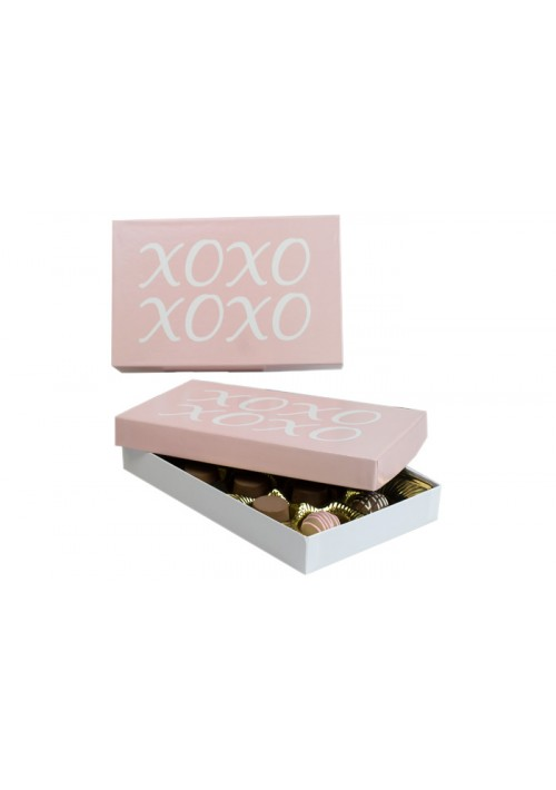 815-XOXO - 1/2 lb. Conversation Solid Lid Candy Box - XOXO Pink