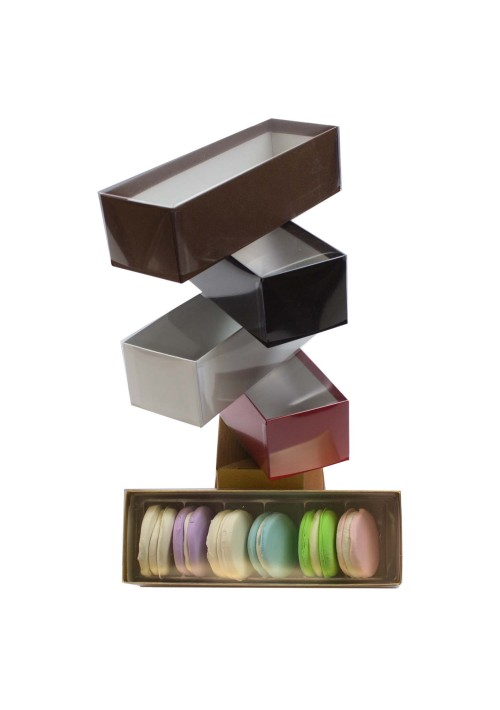 V2206 Series -  6 pc. Macaron Box w/ Clear Vinyl Lid - Assorted Colors - 100 per Case